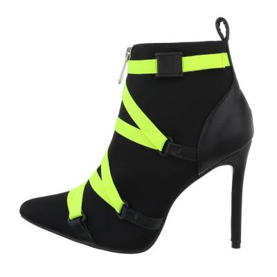 High Heel Stiefeletten für Damen in Schwarz und Grün