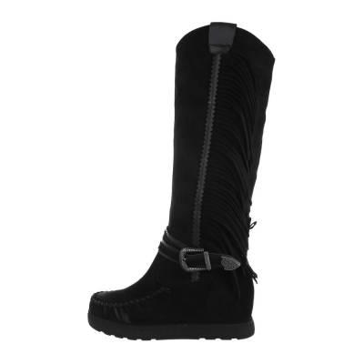 Keilstiefel für Damen in Schwarz