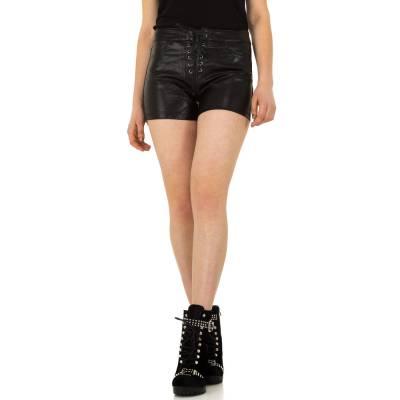 Shorts in Lederoptik für Damen in Schwarz
