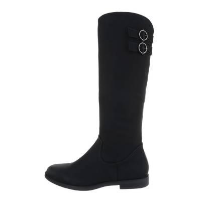 Flache Stiefel für Damen in Schwarz