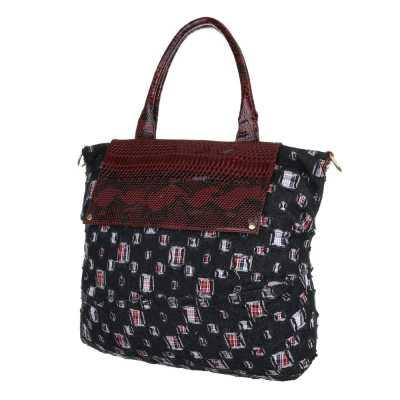 Große Damen Tasche Schwarz Rot