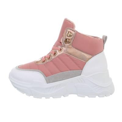 Sneakers high für Damen in Rosa und Weiß