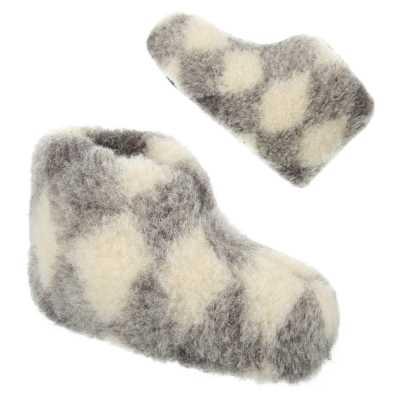 Warm Gefütterte Damen Hausschuhe Weiß Grau
