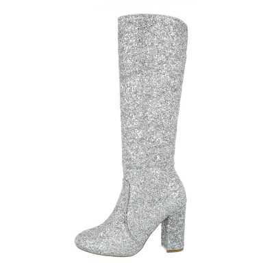 High Heel Stiefel für Damen in Silber