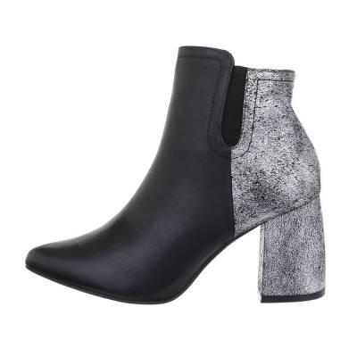 High Heel Stiefeletten für Damen in Schwarz und Silber