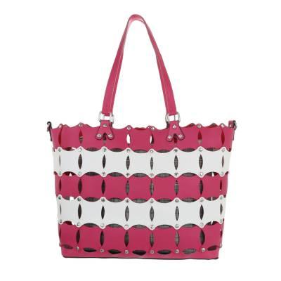 Mittelgroße Damen Tasche Pink Weiß
