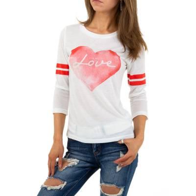 Langarmshirt für Damen in Weiß