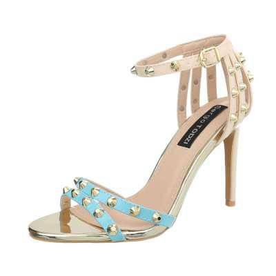 High Heel Sandaletten für Damen in Blau und Beige