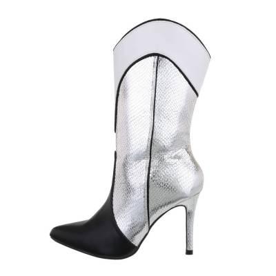 High Heel Stiefel für Damen in Silber und Schwarz