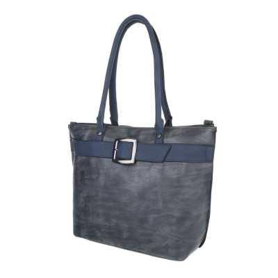 Mittelgroße Damen Tasche Blau Grau
