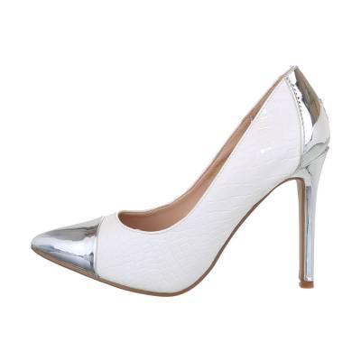 High Heel Pumps für Damen in Silber und Weiß
