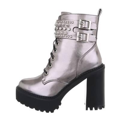 High Heel Stiefeletten für Damen in Grau und Silber