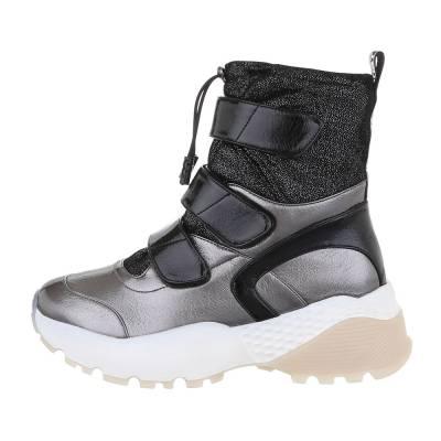 Sneakers high für Damen in Grau und Silber