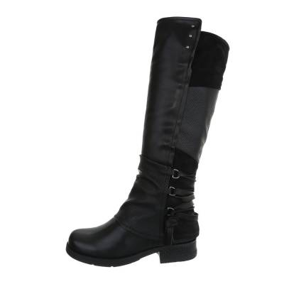 Flache Stiefel für Damen in Schwarz