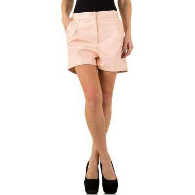 Shorts in Lederoptik für Damen in Rosa