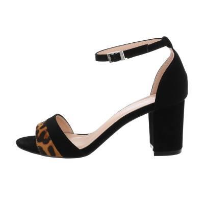 High Heel Sandaletten für Damen in Leo und Schwarz
