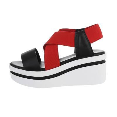 Keilsandaletten für Damen in Schwarz und Rot