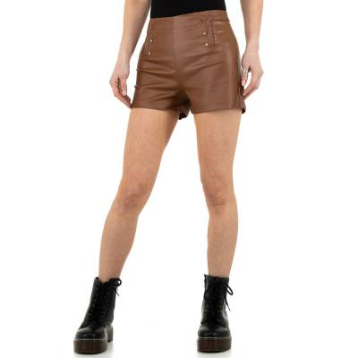 Shorts in Lederoptik für Damen in Braun