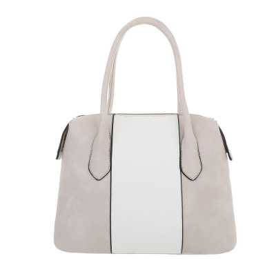 Mittelgroße Damen Tasche Grau Weiß