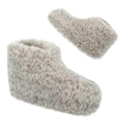 Warm Gefütterte Schurwolle Hausschuhe Grau
