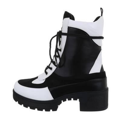 Schnürstiefeletten für Damen in Schwarz und Weiß