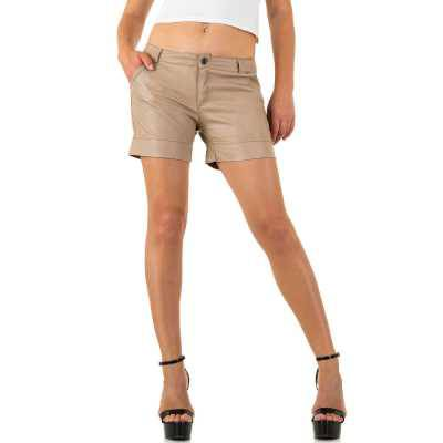 Shorts in Lederoptik für Damen in Beige