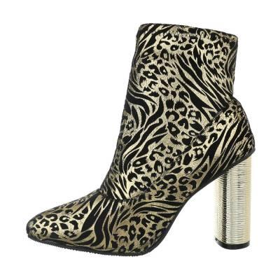 High Heel Stiefeletten für Damen in Gold und Schwarz