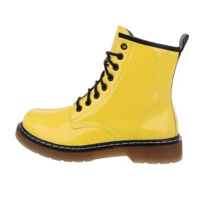 Schnürstiefeletten für Damen in Gelb und Schwarz