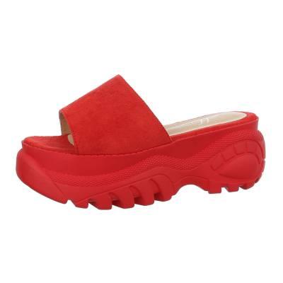 Plateausandaletten für Damen in Rot