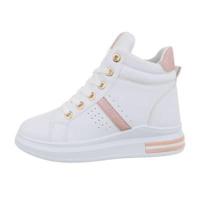 Sneakers high für Damen in Weiß und Rosa