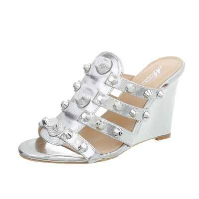 Keilsandaletten für Damen in Silber
