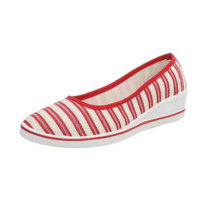 Klassische Ballerinas für Damen in Rot und Weiß