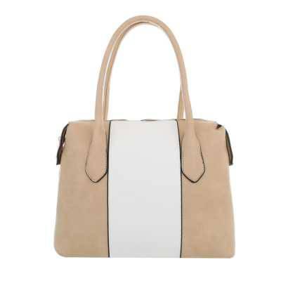 Mittelgroße Damen Tasche Beige Weiß