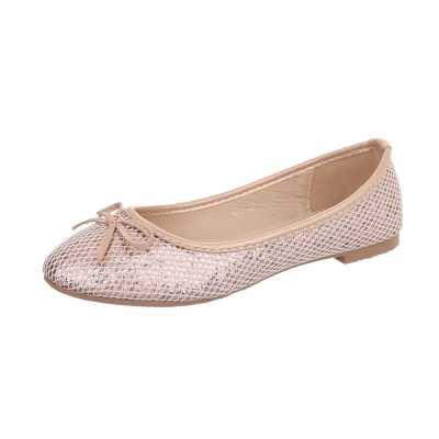 Klassische Ballerinas für Damen in Rosa und Gold