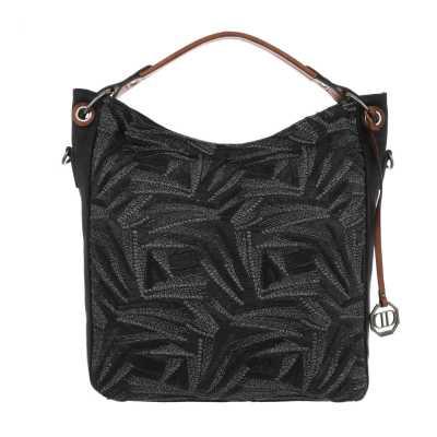 Mittelgroße Damen Tasche Schwarz Multi