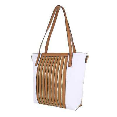 Mittelgroße Damen Tasche Braun Weiß