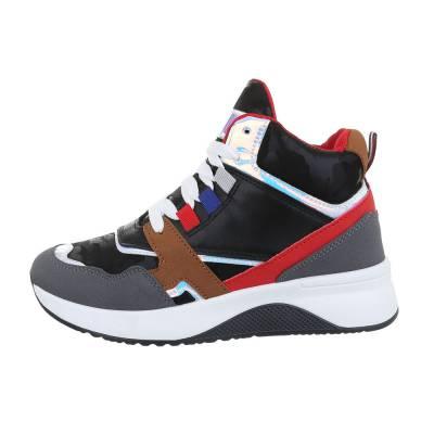 Sneakers high für Damen in Schwarz und Grau