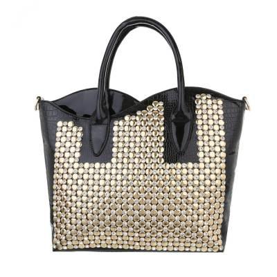 Mittelgroße Damen Tasche Schwarz Gold