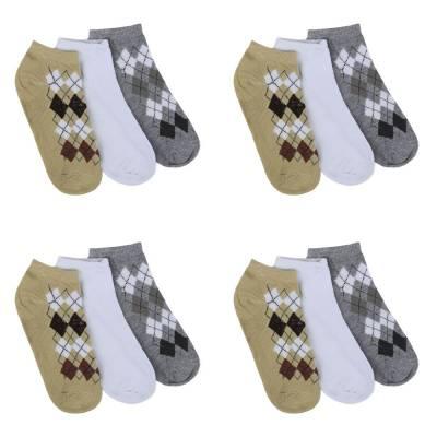 12 Paar Damen Socken Grau Multi
