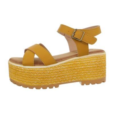 Keilsandaletten für Damen in Gelb