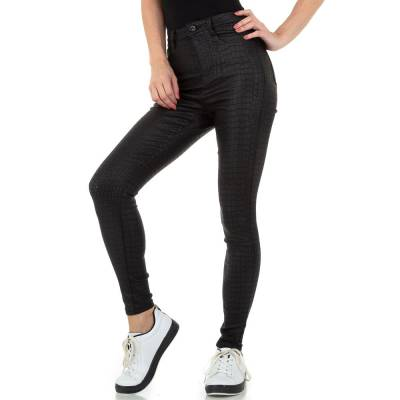 Hose in Lederoptik für Damen in Schwarz