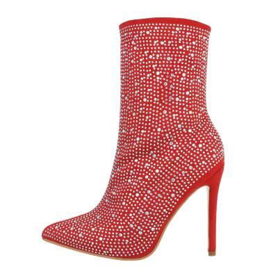 High Heel Stiefeletten für Damen in Rot und Silber