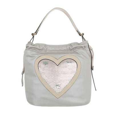 Mittelgroße Damen Tasche Grau Silber