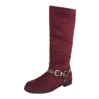 Flache Stiefel für Damen in Rot