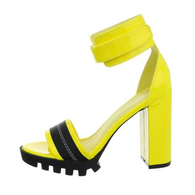 High Heel Sandaletten für Damen in Gelb und Schwarz