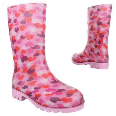 Mädchen Kinder Gummi Stiefel Pink Rosa