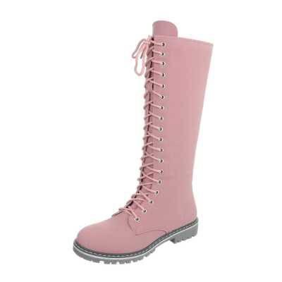 Flache Stiefel für Damen in Rosa