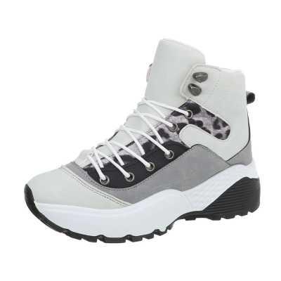 Sneakers high für Damen in Weiß und Grau