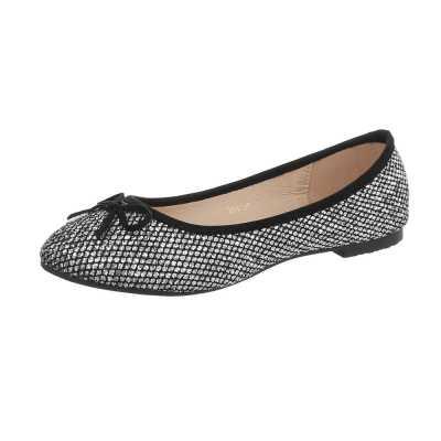 Klassische Ballerinas für Damen in Schwarz und Silber