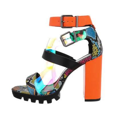 High Heel Sandaletten für Damen in Orange und Schwarz